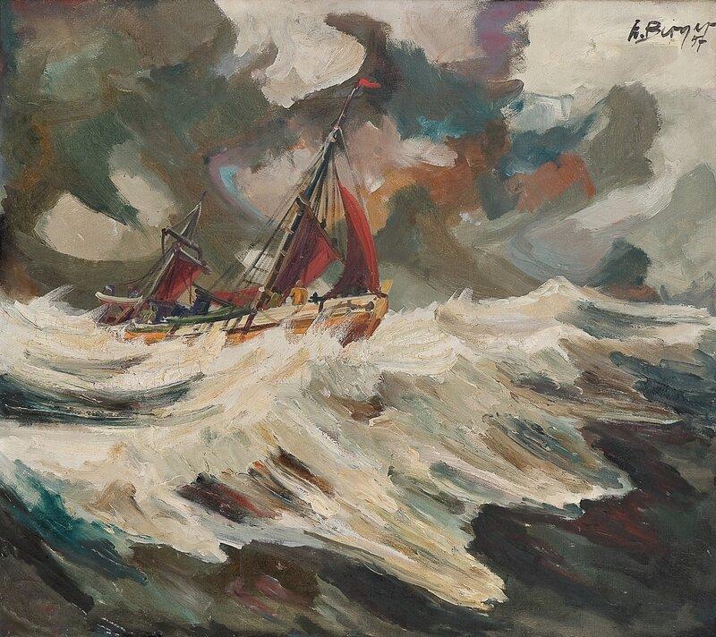 Fiskebåt i opprørt sjø 1957