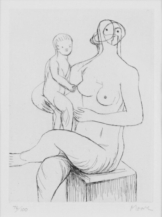Sittende mor og barn
