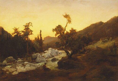 Kvinne ved elvestryk i skogslandskap 1845