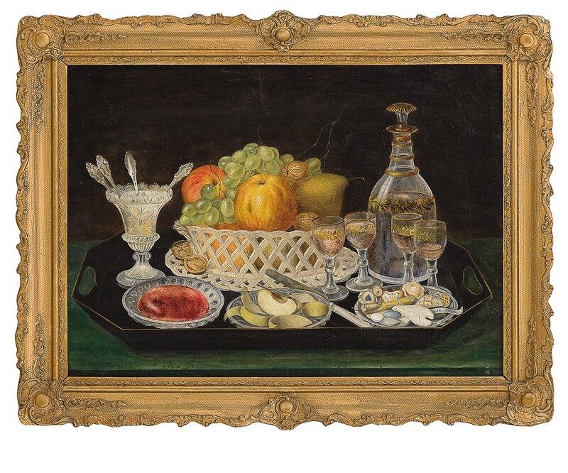 Oppstilling med fruktkurv og dessertvin 1848