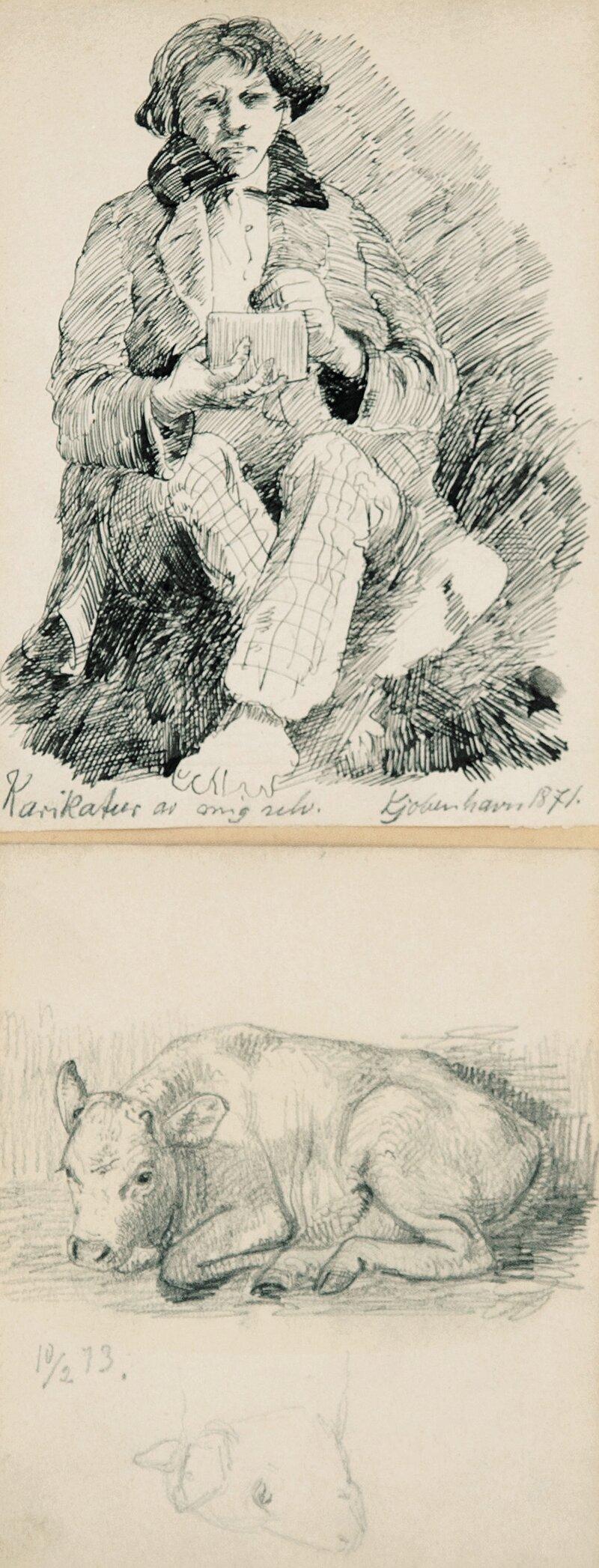 Selvportrett 1871 og Kalv 1873