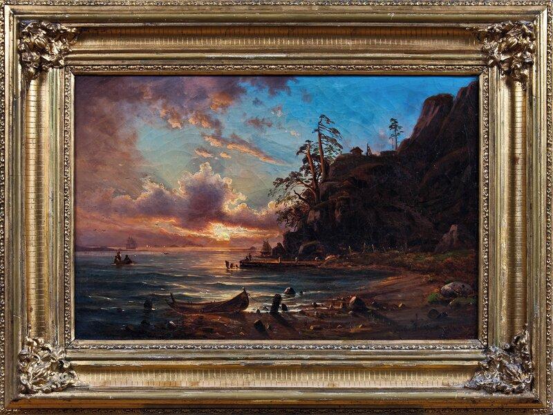 Marinemotiv ved solnedgang 1864