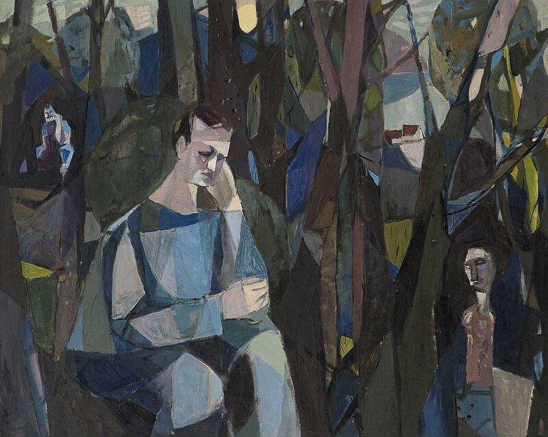 Abstrakt blå mann 1955