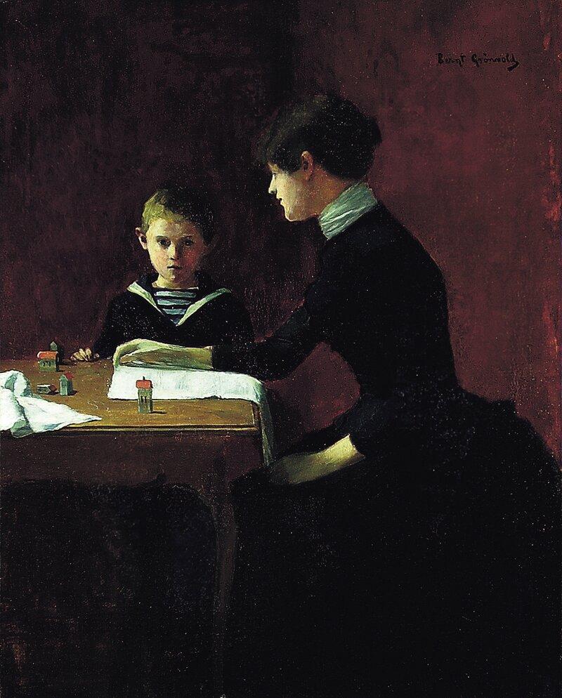 Kvinne og gutt i interiør