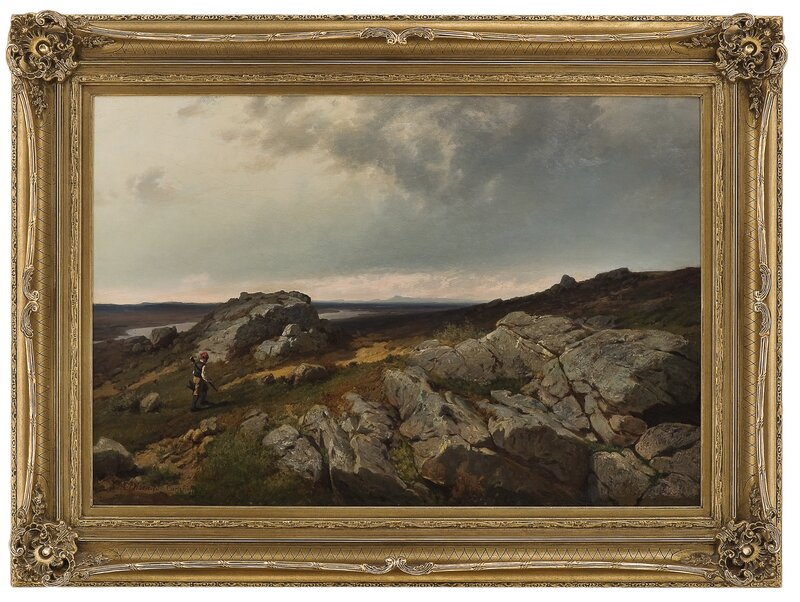 Fjellandskap med jeger 1873