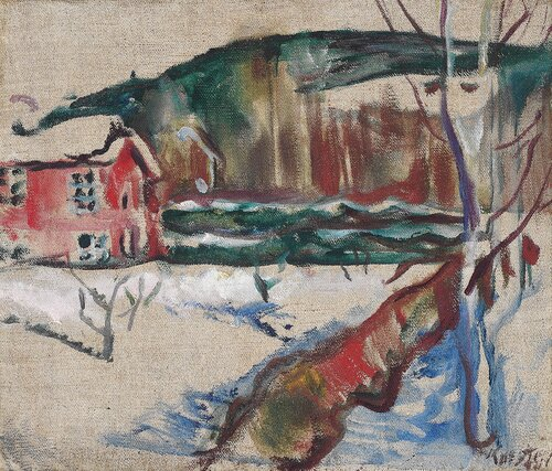 Landskap med rødt hus