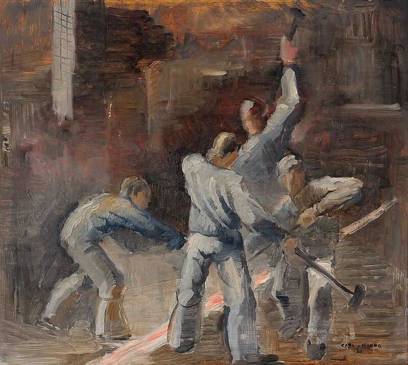Arbeidere med slegge 1930