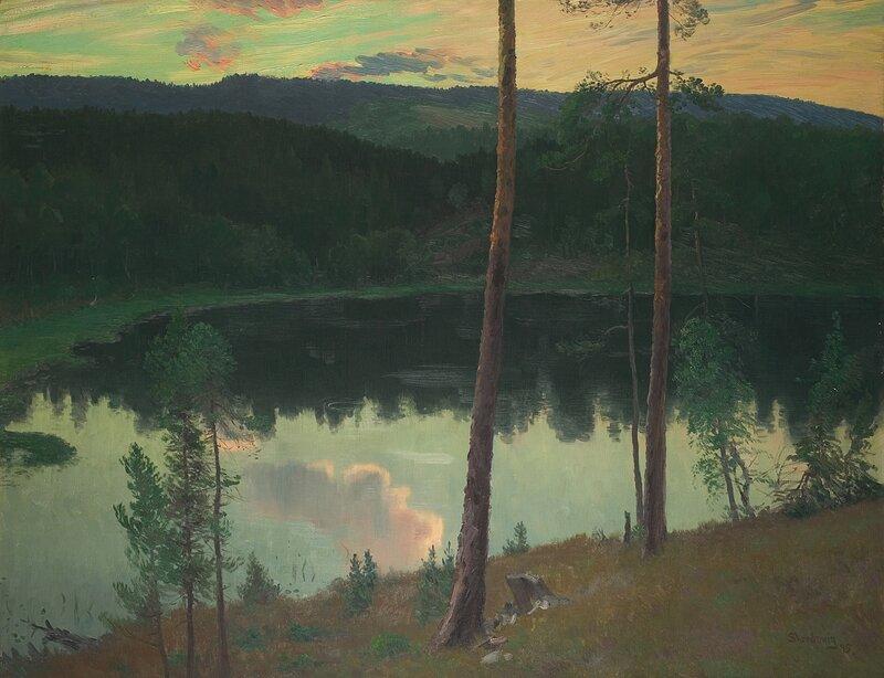 Skogslandskap med tjern 1895