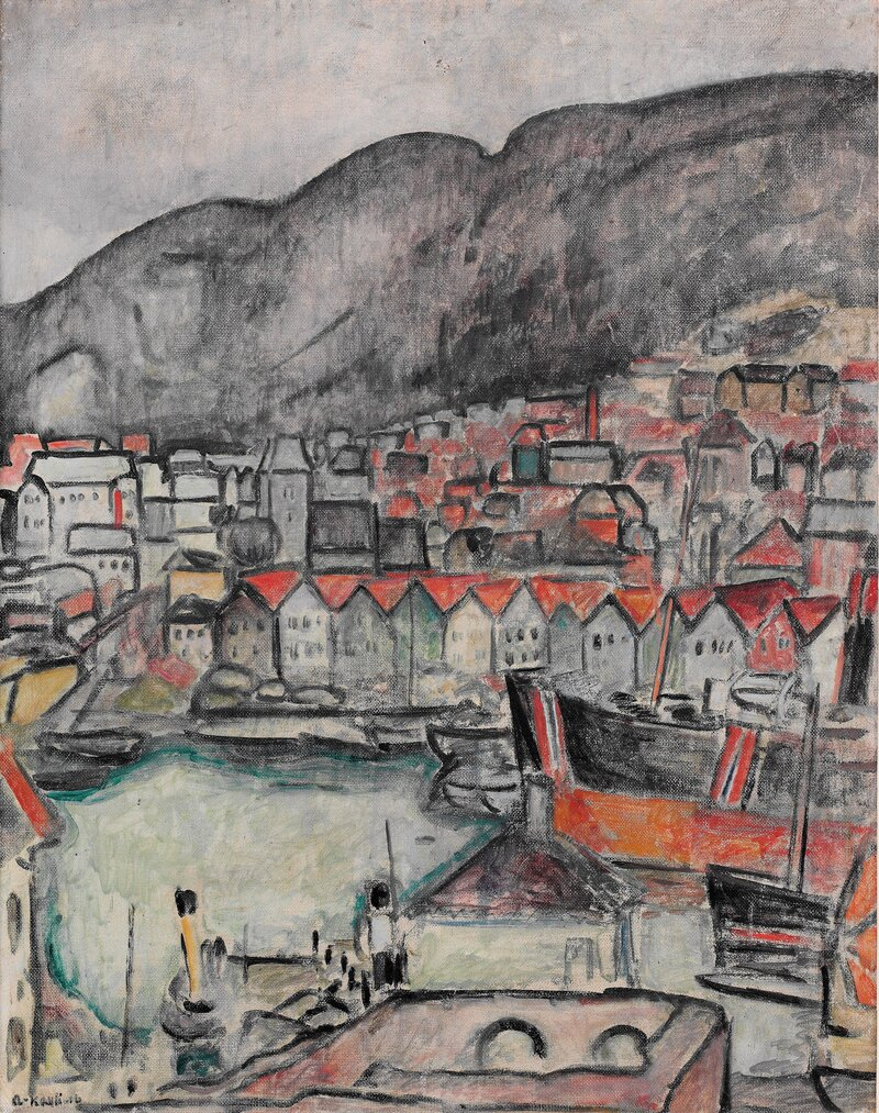 Fra Vågen i Bergen med Bryggen 1916