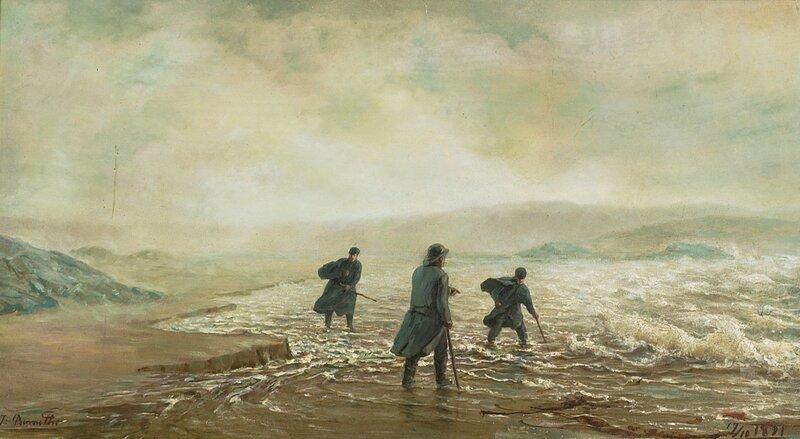 Menn på leting i vannkanten 1891