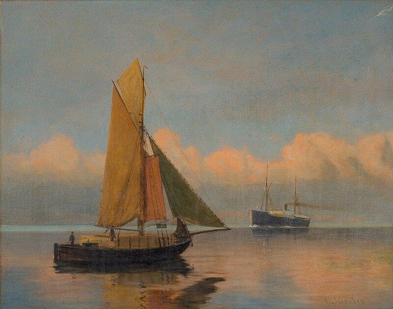 Dampskip og jagt i smul sjø