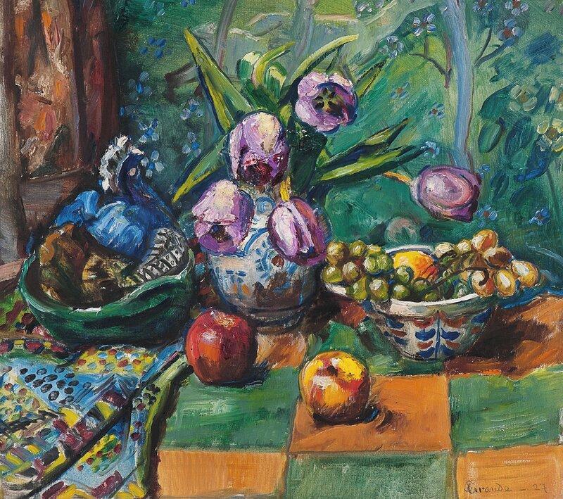 Oppstilling med tulipaner og frukt 1927