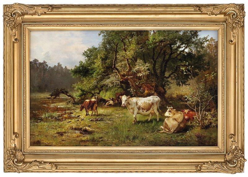 Kyr ved vanningssted 1872