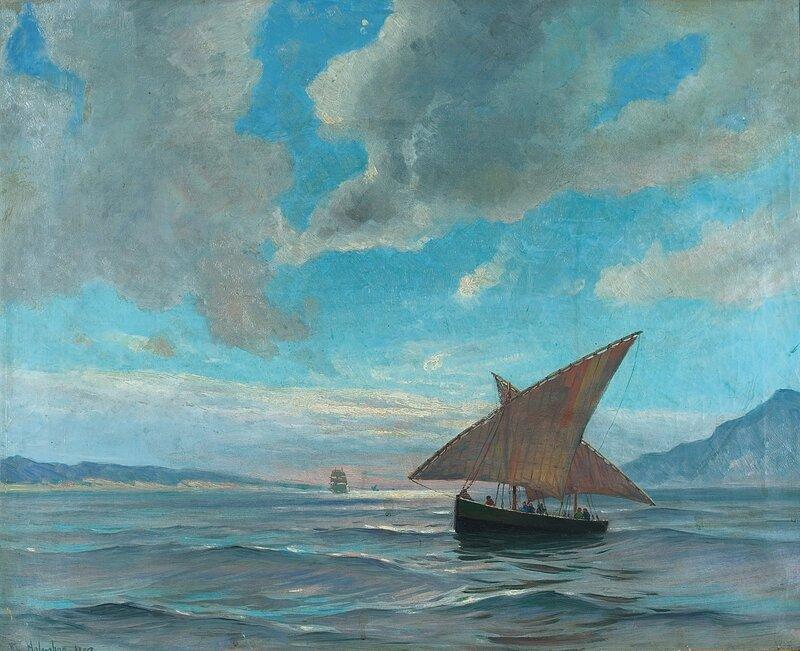 Seilskuter i fjordlandskap 1893