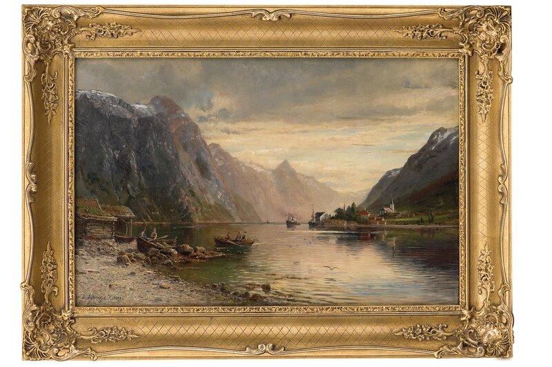 Vestlandsfjord med folkeliv 1891