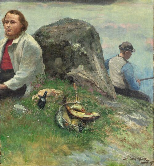 P. Chr. Asbjørnsen på tur med fiskergutt 1897