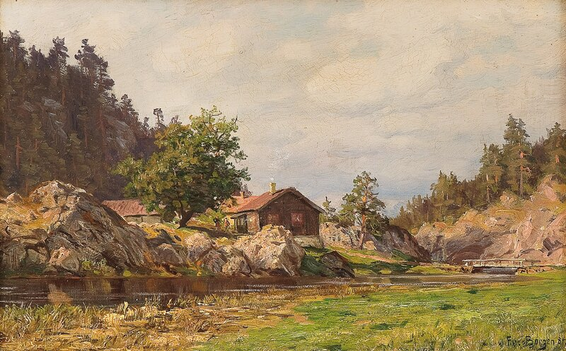Elvelandskap med småbruk 1884