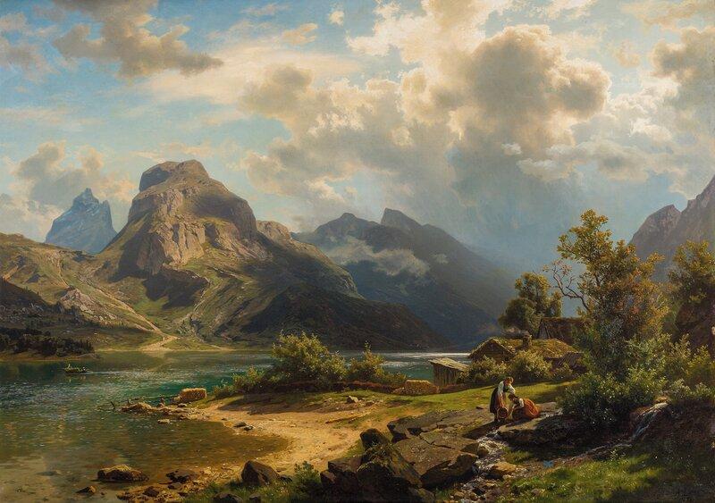Fjordlandskap med folkeliv 1870