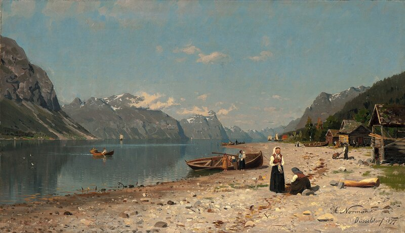 Fjord Landscape with people 1877