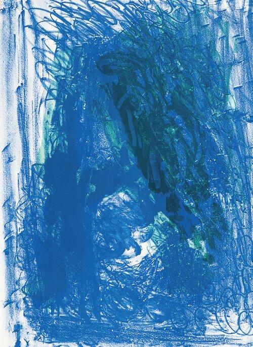 Komposisjon i blått og grønt