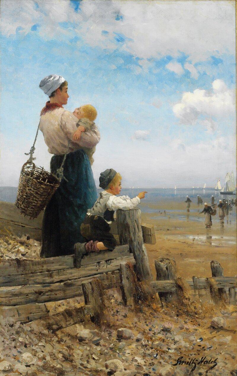 Fiskerkone med barn