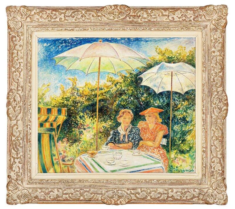 Two women sitting in the garden