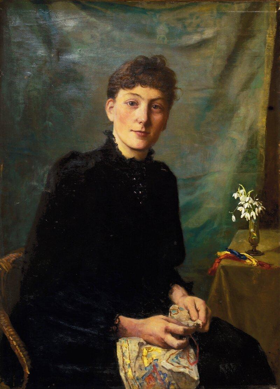 Kvinne som syr 1891