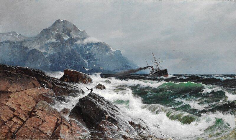 Dampbåt i kystlandskap1885
