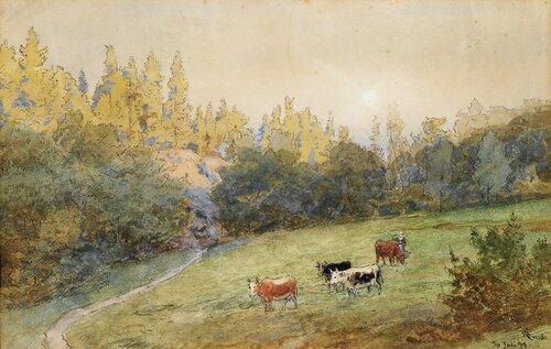 Budeie med kyr 1899