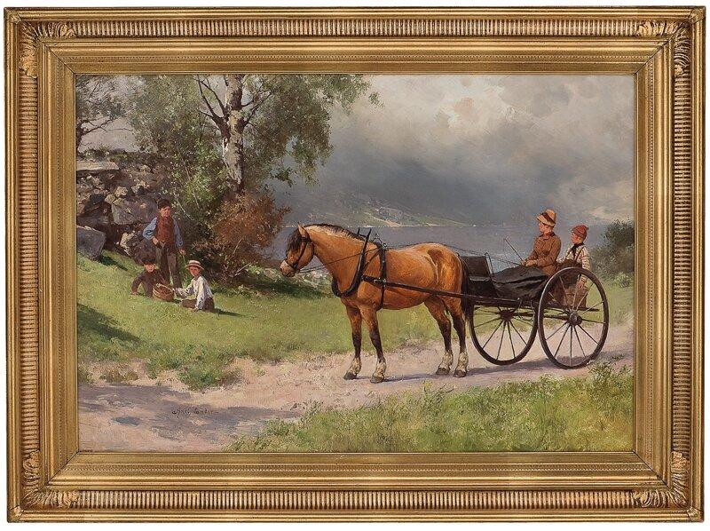 Kystlandskap med hest, vogn og folkeliv