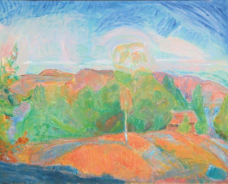 Landskap med løvtrær og hus 1938