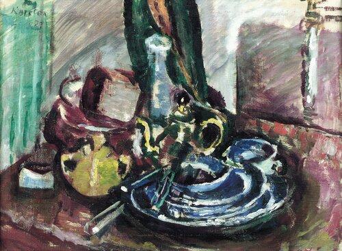 Oppstilling med kopper, kanne og vase 1923