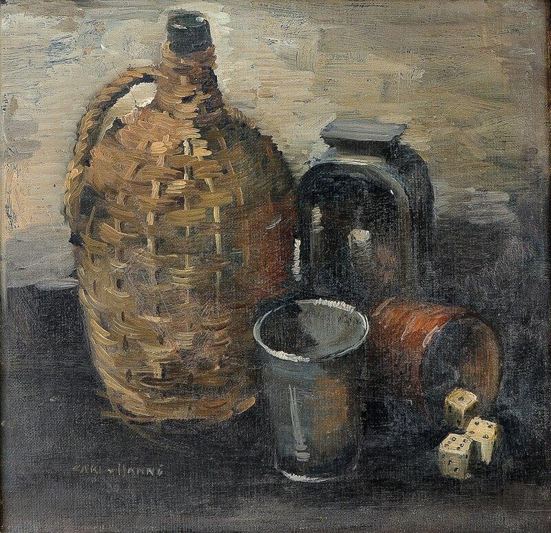 Oppstilling med terninger, flasker og glass 1930