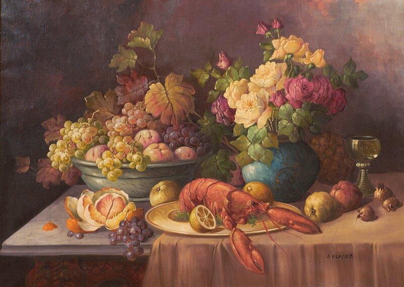 Oppstilling med hummer, frukt og blomster