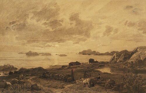 Kystlandskap med kyr og budeier 1885