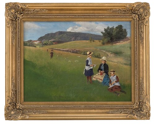 Landscape scene with woman and children