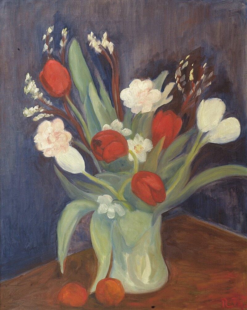 Oppstilling med blomster i vase 1940