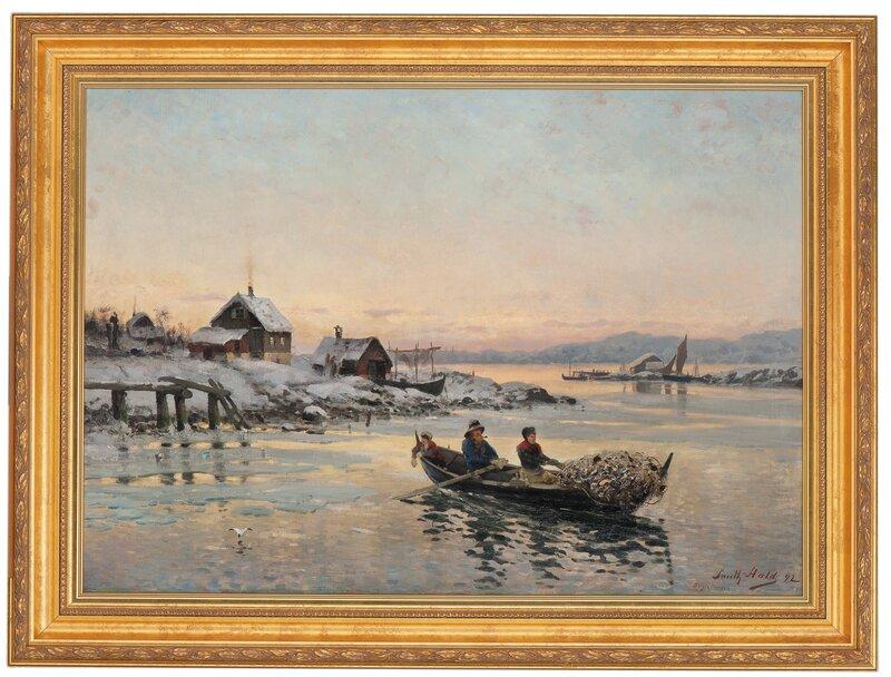 Vinterlandskap med garnfiskere i robåt 1892