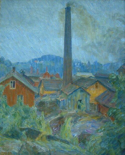Fabrikkbygninger på Lysaker 1907