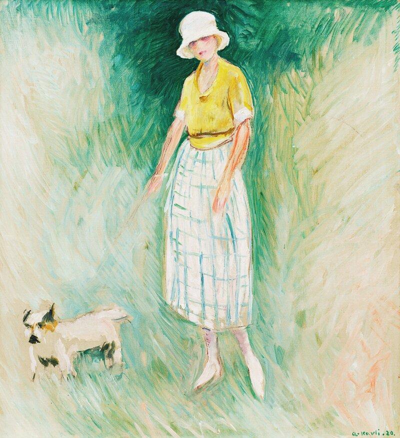 Kvinne med skjødehund i bånd 1920