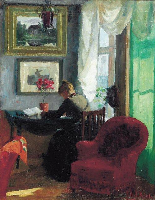 Interiør med rød stol