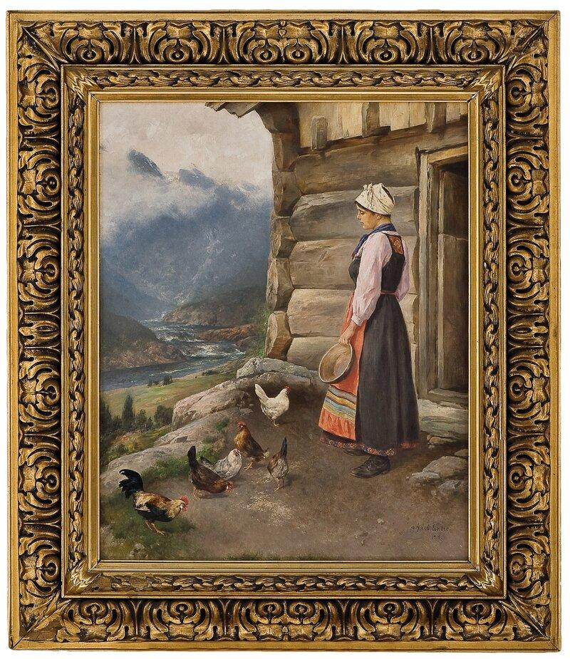 Budeie med høner og hane 1915