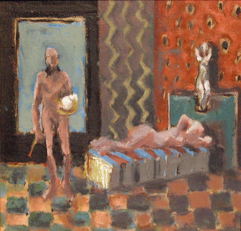 Kvinne og mannsakt i interiør