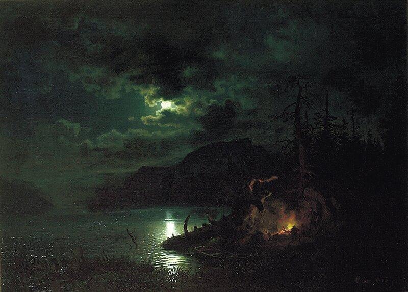Skogsjø i måneskinn 1853