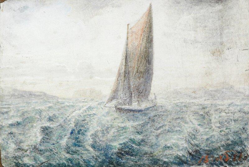 Seilbåt på opprørt sjø 1873