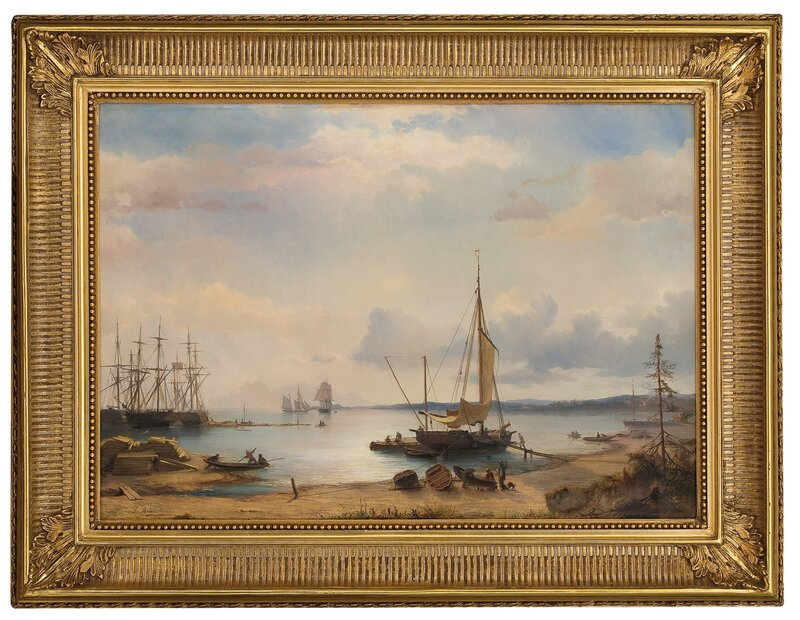 Havneparti med seilskuter 1853