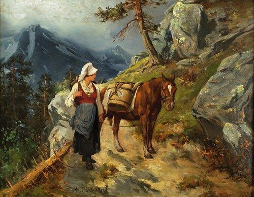 Kvinne med hest på vei til seters