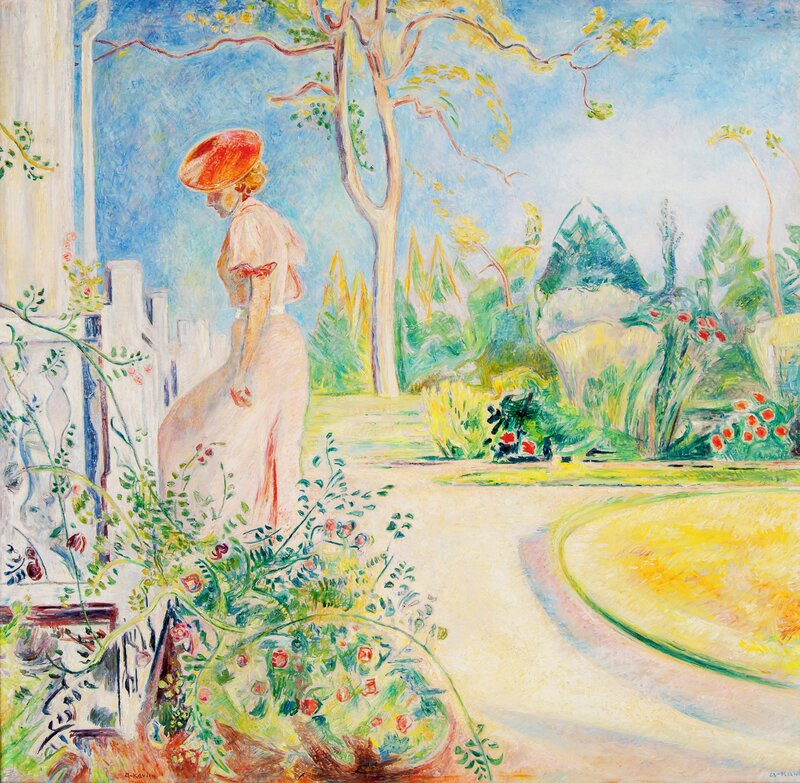 Kvinne på hagetrapp