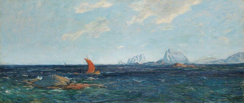 Nordlandsbåt i kystlandskap 1896