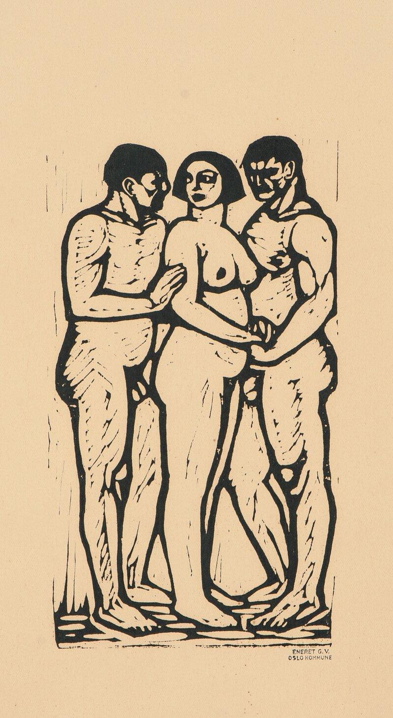 Kvinne mellom to menn